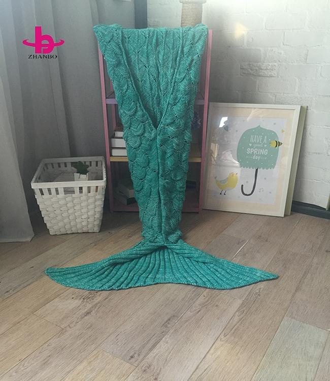 鱼鳞款美人鱼毯子 鱼尾巴针织毯沙发毯 工厂现货直销批发可定制